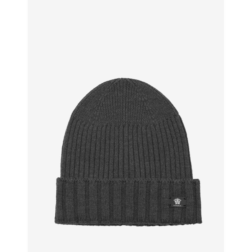 ヴェルサーチ Versace メンズ 帽子 ニット【Ribbed Wool Beanie Hat】Grey