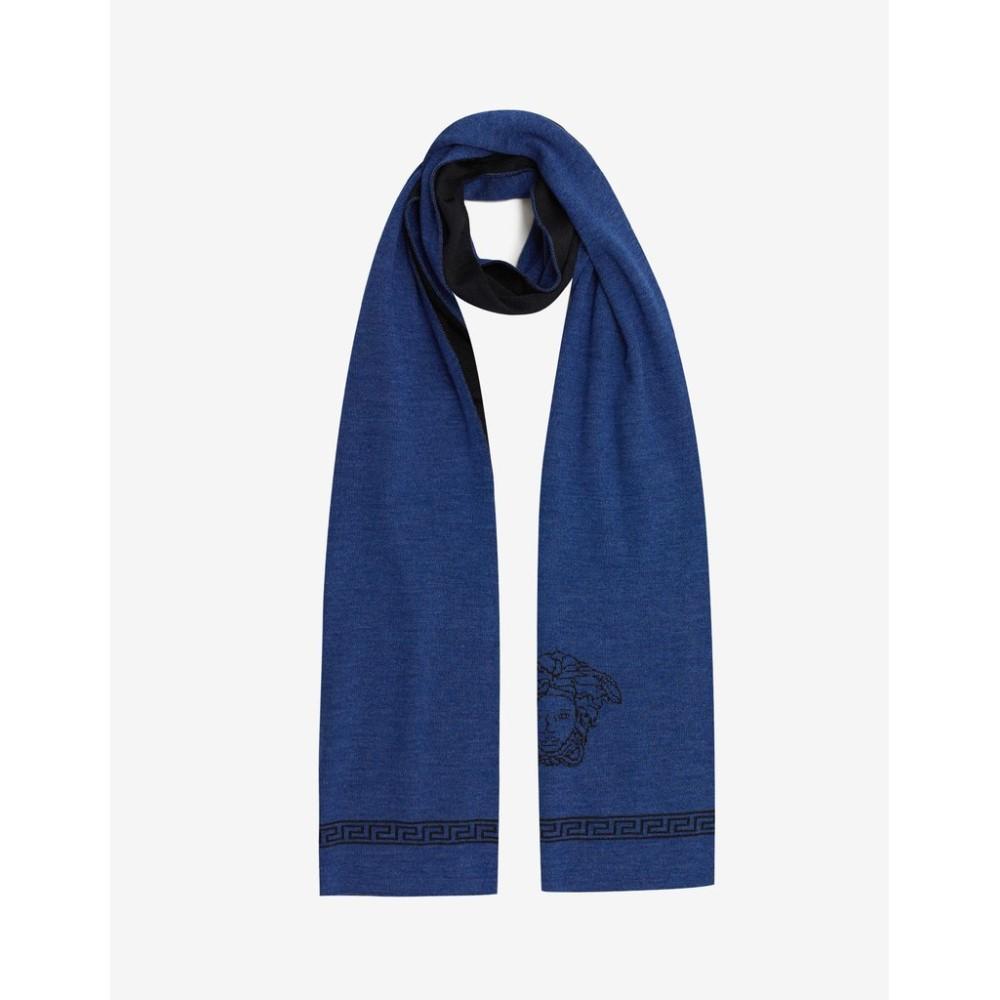 ヴェルサーチ Versace メンズ マフラー・スカーフ・ストール【Wool Blend Medusa Scarf】Blue