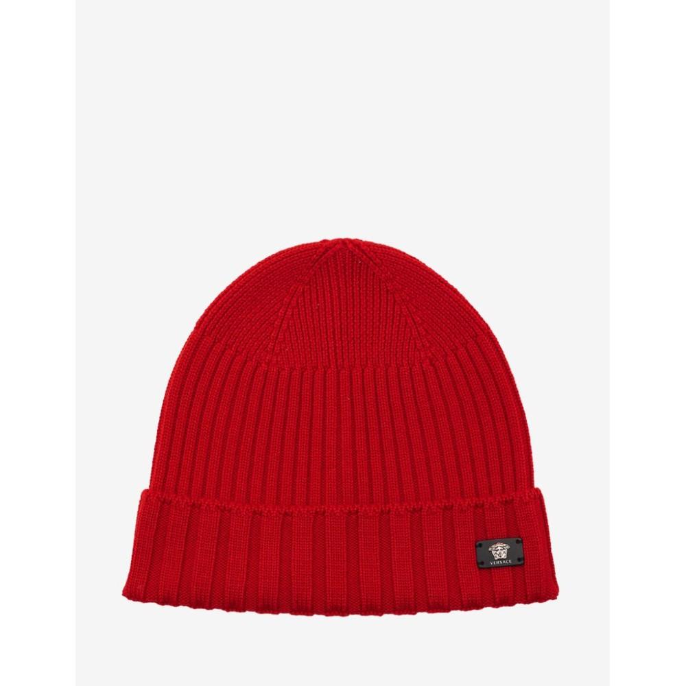 ヴェルサーチ Versace メンズ 帽子 ニット【Ribbed Wool Beanie Hat】Red