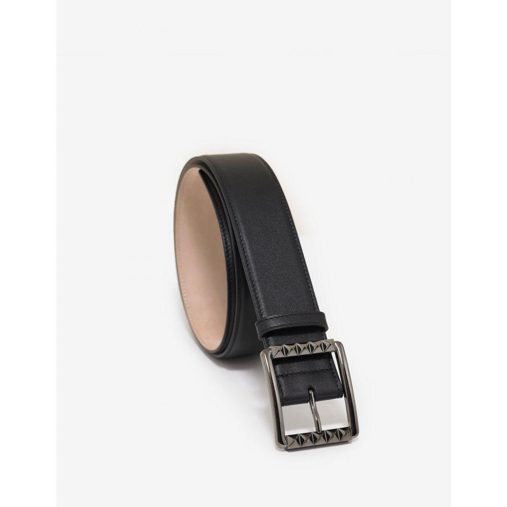 ヴァレンティノ Valentino Garavani メンズ ベルト【Black Rockstud Buckle Leather Belt】Black