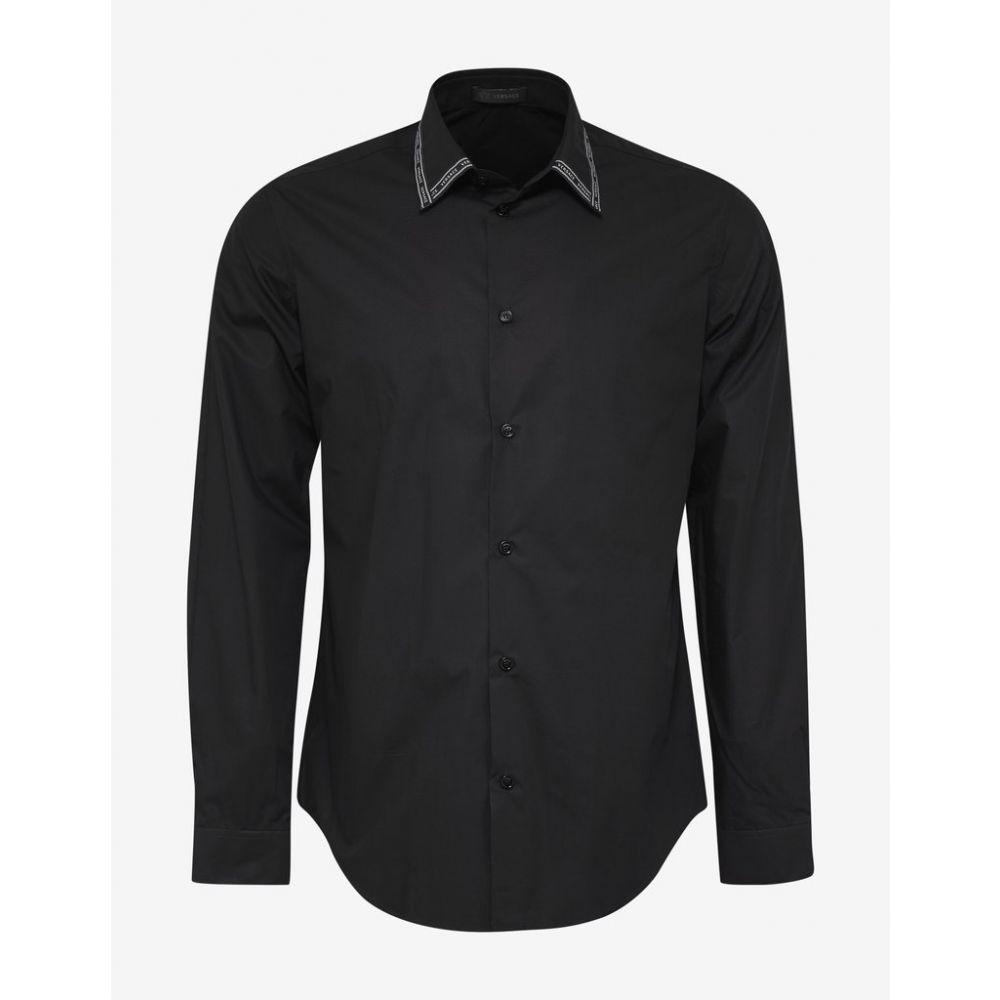 ヴェルサーチ Versace メンズ トップス シャツ【Black Nastro Logo Trim Collar Shirt】Black