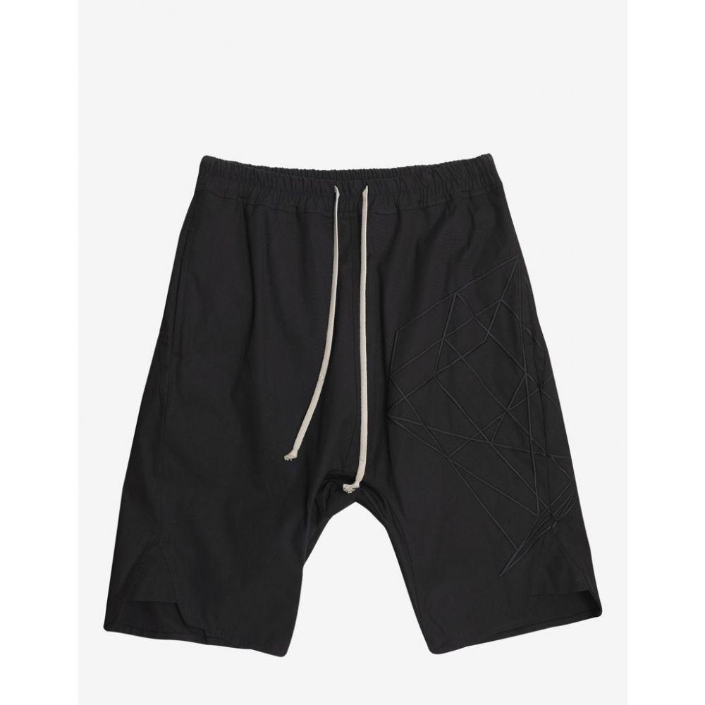 リック オウエンス Rick Owens メンズ ボトムス・パンツ ショートパンツ【Black Basket Swinger Shorts with Tonal Embroidery】Black