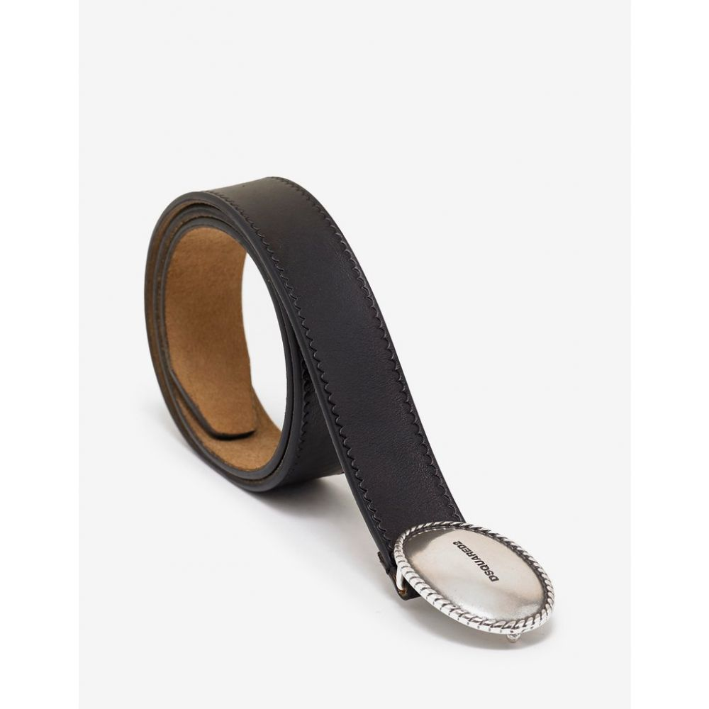 ディースクエアード Dsquared2 メンズ ベルト【Black Oval Logo Buckle Belt】Black