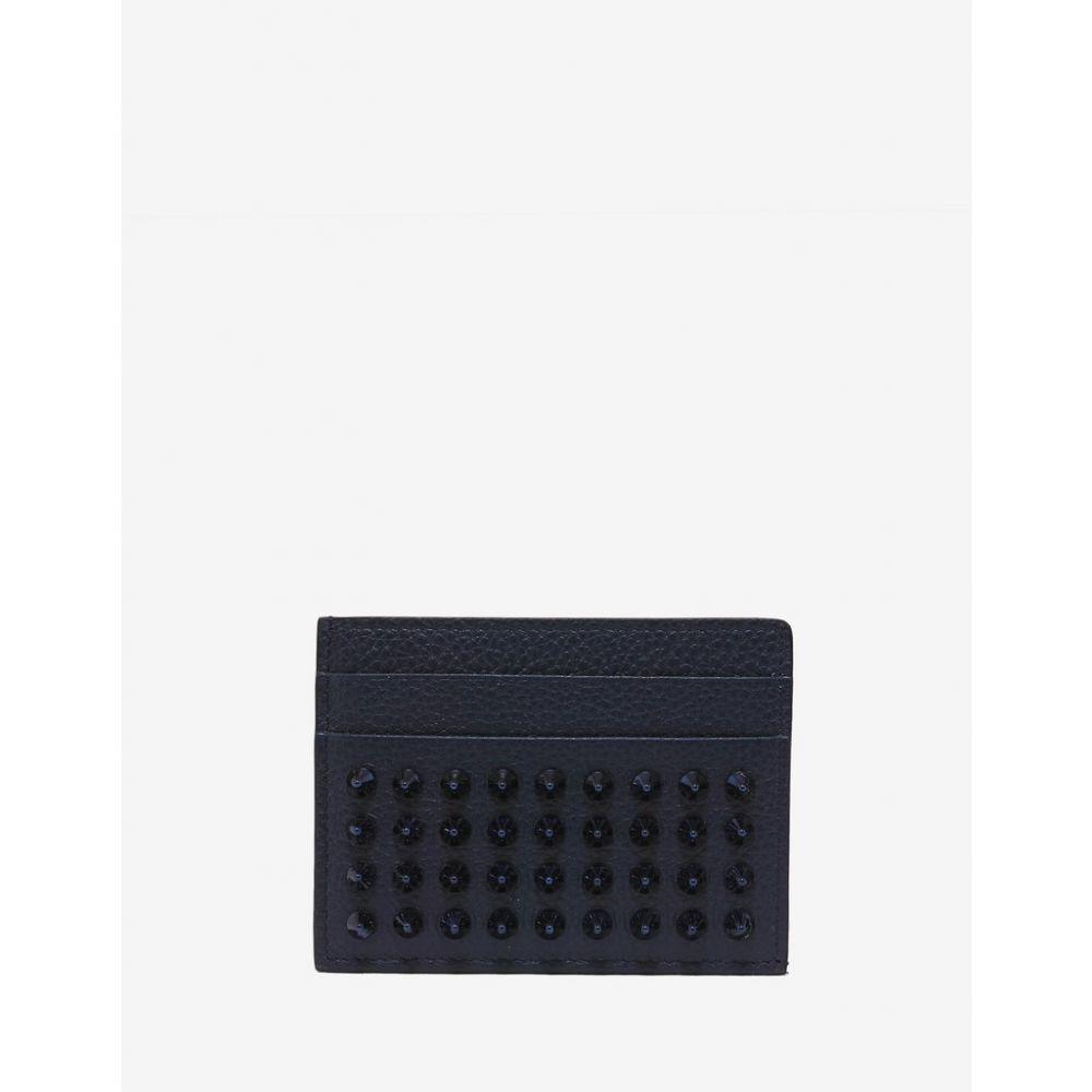 クリスチャン ルブタン Christian Louboutin メンズ カードケース・名刺入れ【Kios Marine Blue Grain Leather Spikes Card Holder】Blue