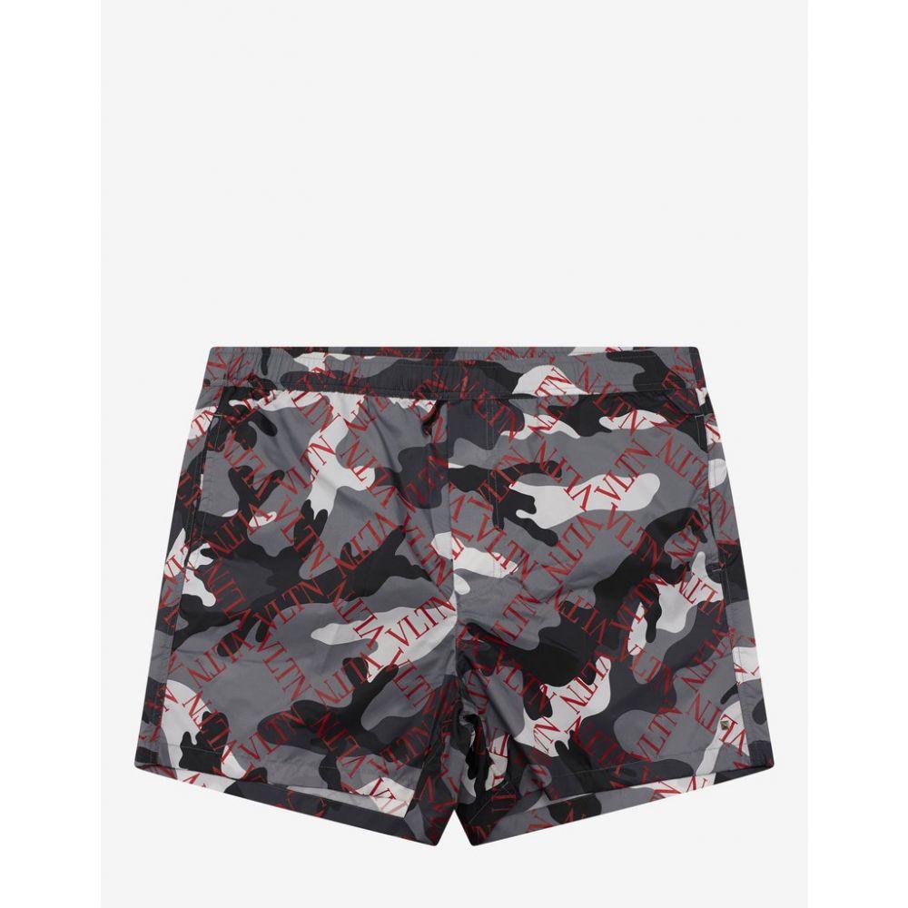 ヴァレンティノ Valentino メンズ 水着・ビーチウェア 海パン【Grey Camouflage VLTN Grid Swim Shorts】Grey