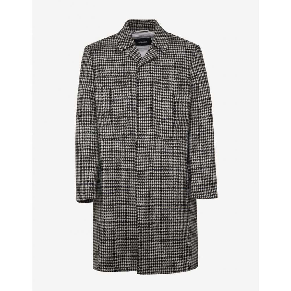 Wool シモンズ Raf Coat】Black/White メンズ アウター コート【Houndstooth ラフ Check Simons