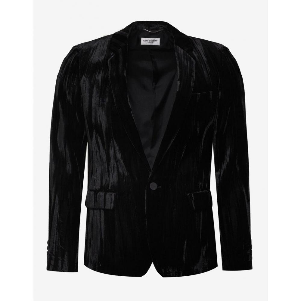 イヴ サンローラン Saint Laurent メンズ アウター スーツ・ジャケット【Black Crinkled Velvet Blazer】Black