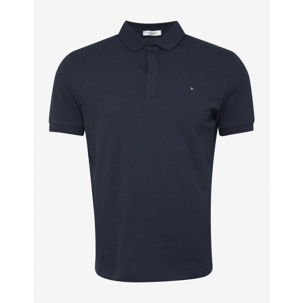 ヴァレンティノ Valentino メンズ トップス ポロシャツ【Navy Blue Polo T-Shirt with Rockstud】Blue