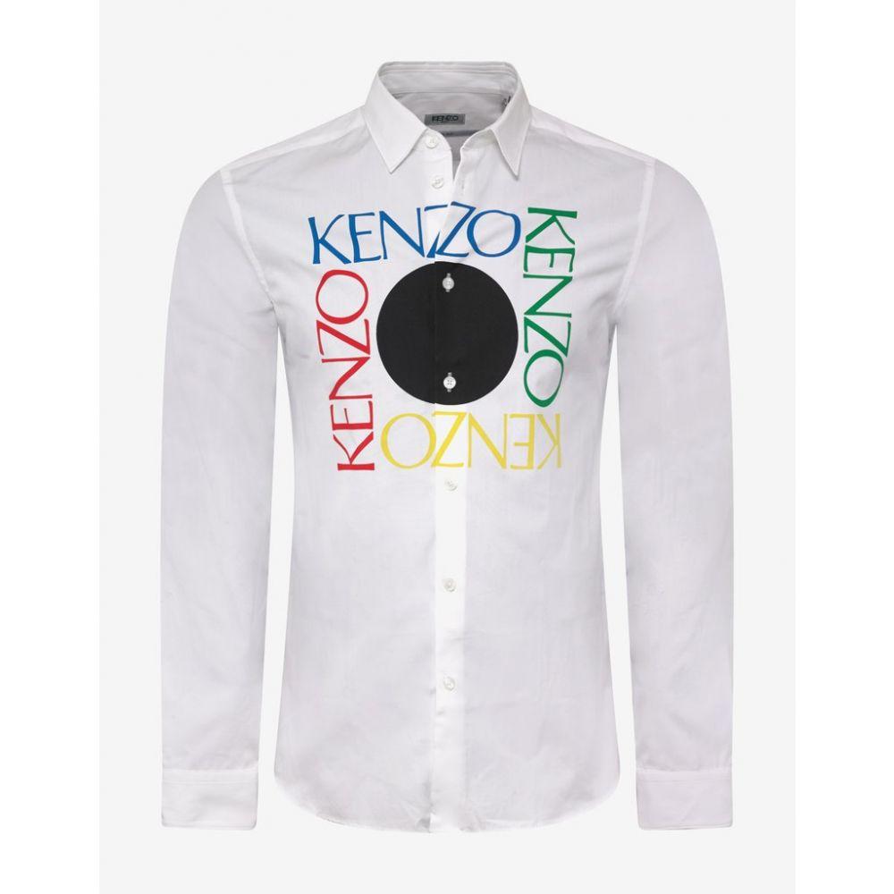 ケンゾー Kenzo メンズ トップス シャツ【White Square Logo Slim Shirt】White