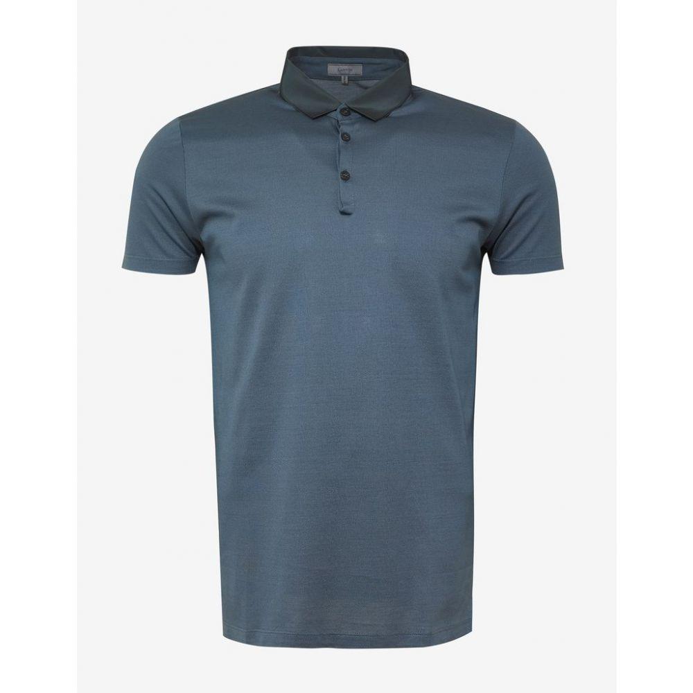 ランバン Lanvin メンズ トップス ポロシャツ【Metallic Blue Polo T-Shirt with Grosgrain Collar】Blue