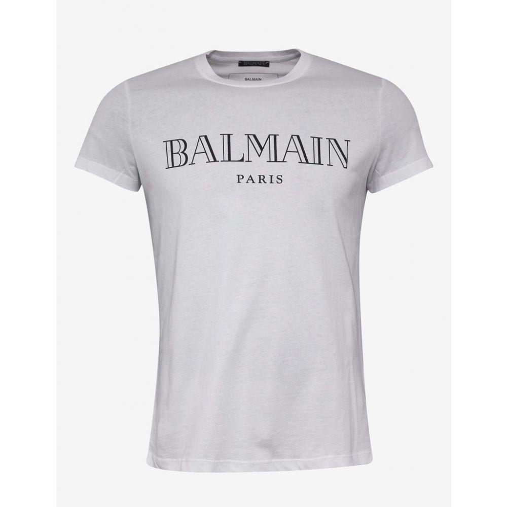 バルマン Balmain メンズ トップス Tシャツ【White T-Shirt with Black Logo】White