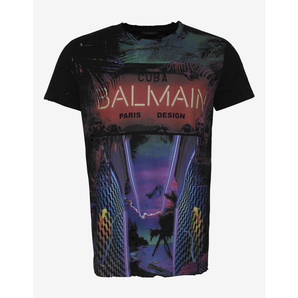 バルマン Balmain メンズ トップス Tシャツ【Black Neon Cuba Logo Print T-Shirt】Black