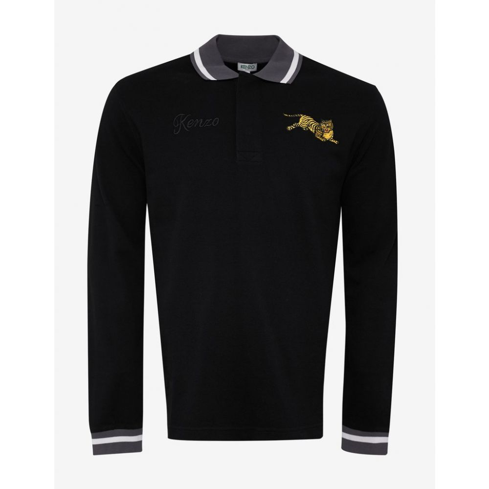 ケンゾー Kenzo メンズ トップス ポロシャツ【Black Long Sleeve Jumping Tiger Polo T-Shirt】Black