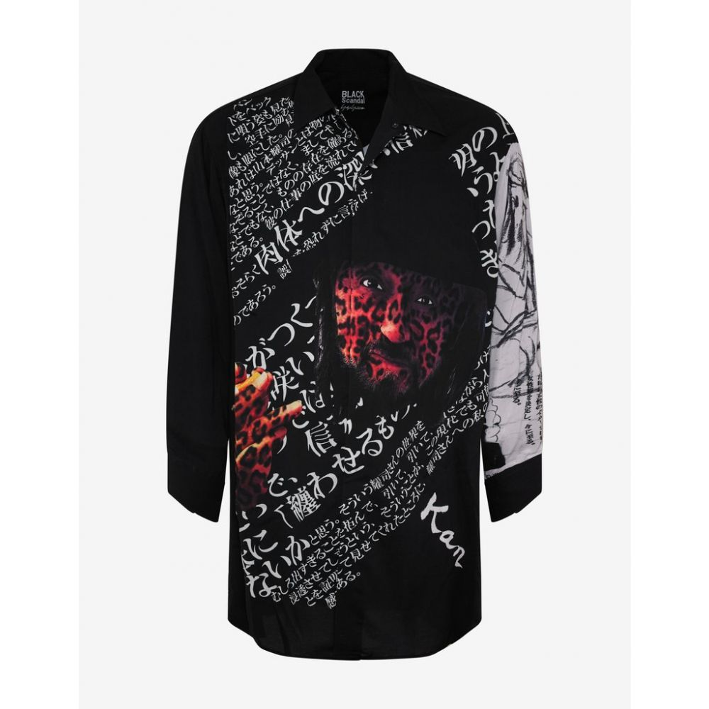 ヨウジヤマモト Yohji Yamamoto メンズ トップス シャツ【Black Deep Trust Print Long Body Shirt】Black