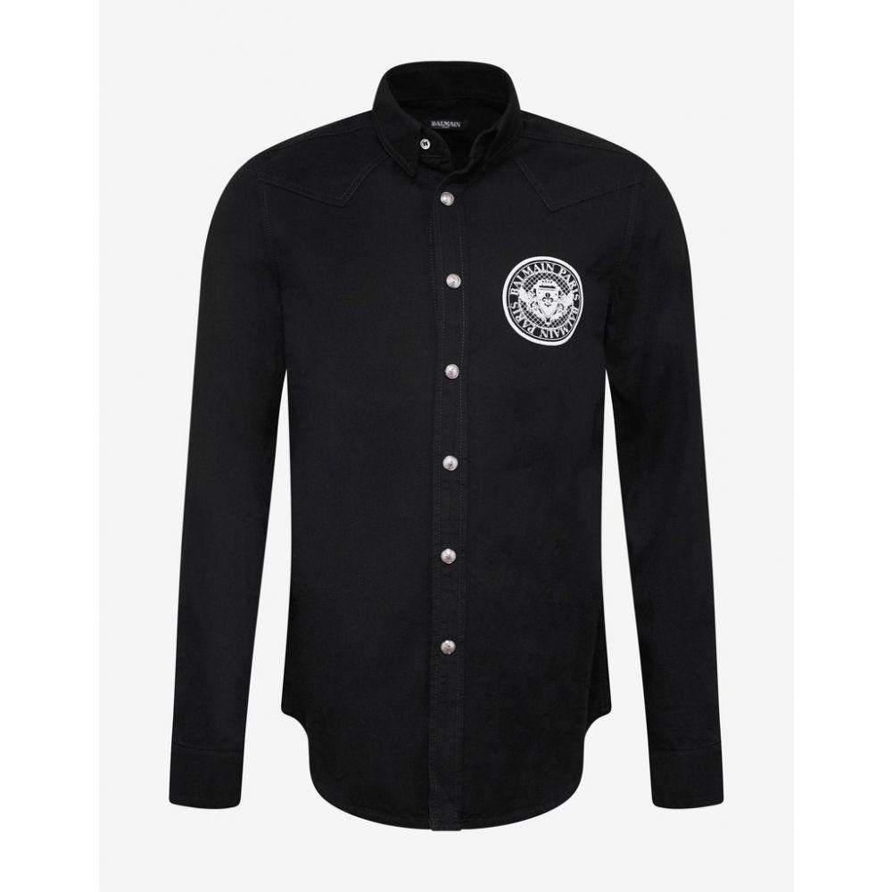 バルマン Balmain メンズ トップス シャツ【Black Logo Medallion Denim Shirt】Black