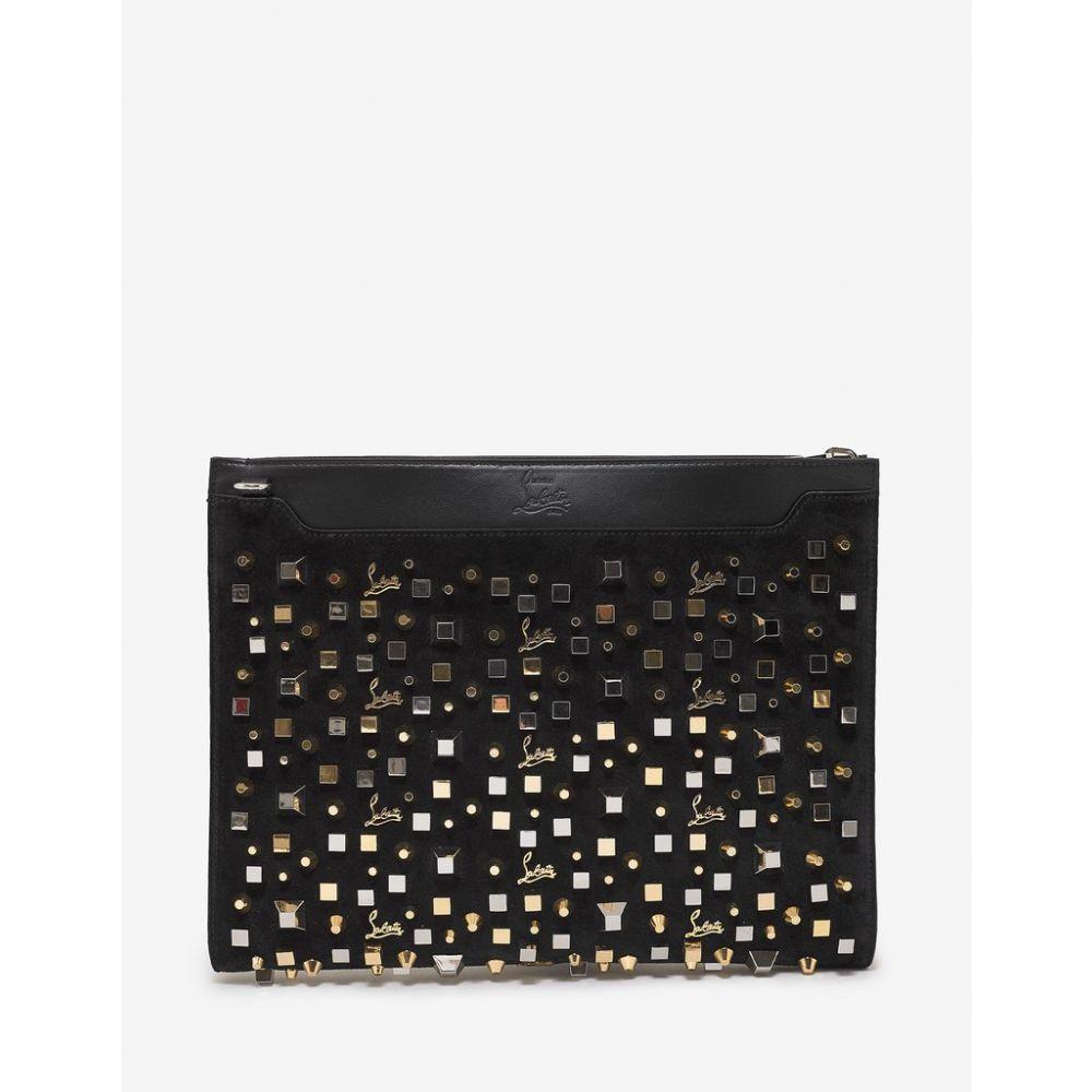 クリスチャン ルブタン Christian Louboutin メンズ バッグ【Skypouch Black Suede Spikes & Cubes Bag】Black