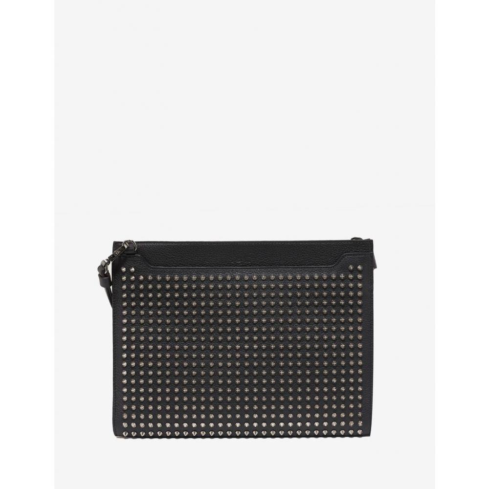 クリスチャン ルブタン Christian Louboutin メンズ バッグ【Skypouch Black Leather Bag with Silver Spikes】Black