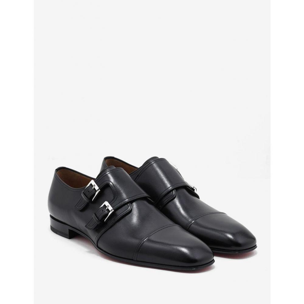 クリスチャン ルブタン Christian Louboutin メンズ シューズ・靴 革靴・ビジネスシューズ【Mortimer Flat Black Leather Monk Strap Shoes】Black