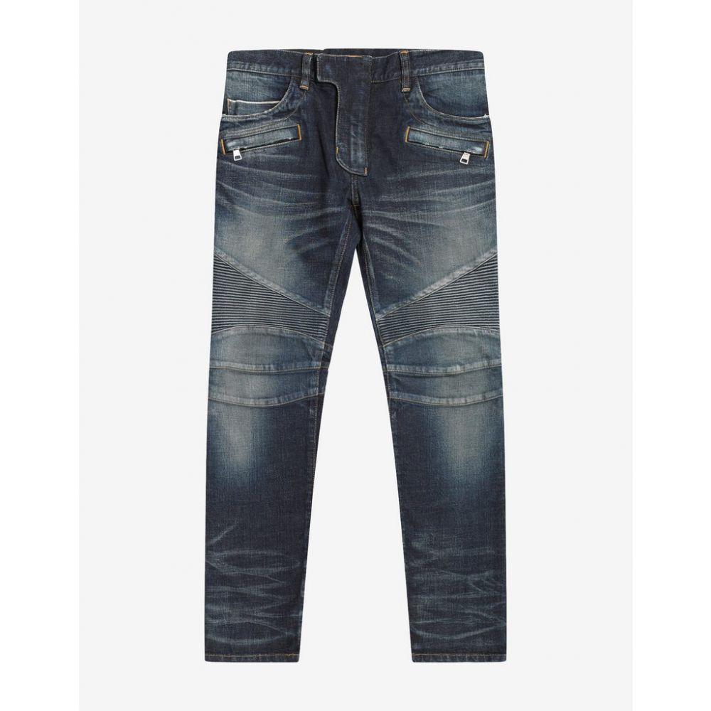 バルマン Balmain メンズ ボトムス・パンツ ジーンズ・デニム【Wash Blue Medallion Biker Jeans】Blue