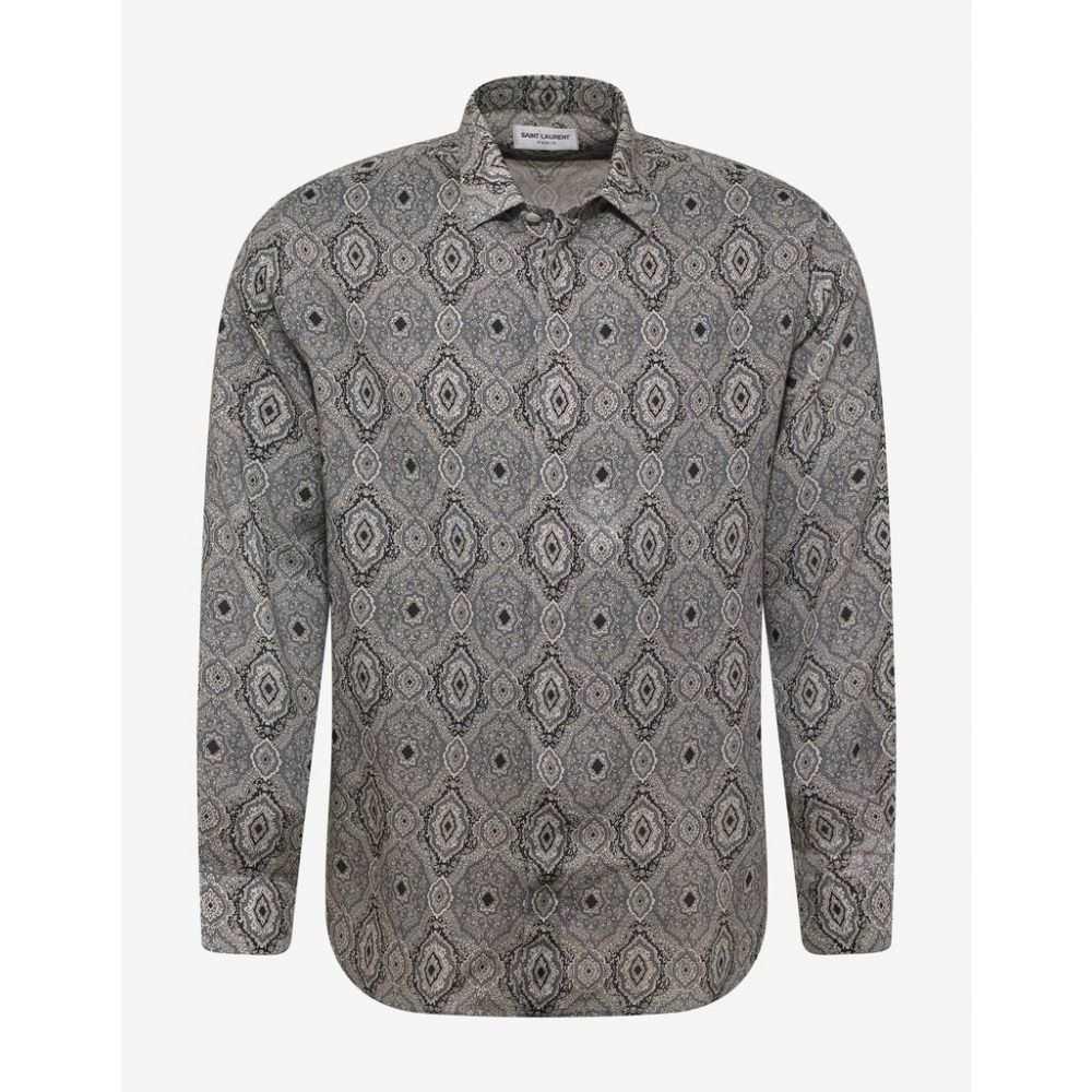 イヴ サンローラン Saint Laurent メンズ トップス シャツ【Paisley Print Wool Shirt】Grey
