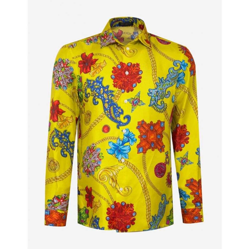 ヴェルサーチ Versace メンズ トップス シャツ【Yellow Gioielleria Jetes Print Silk Shirt】Yellow