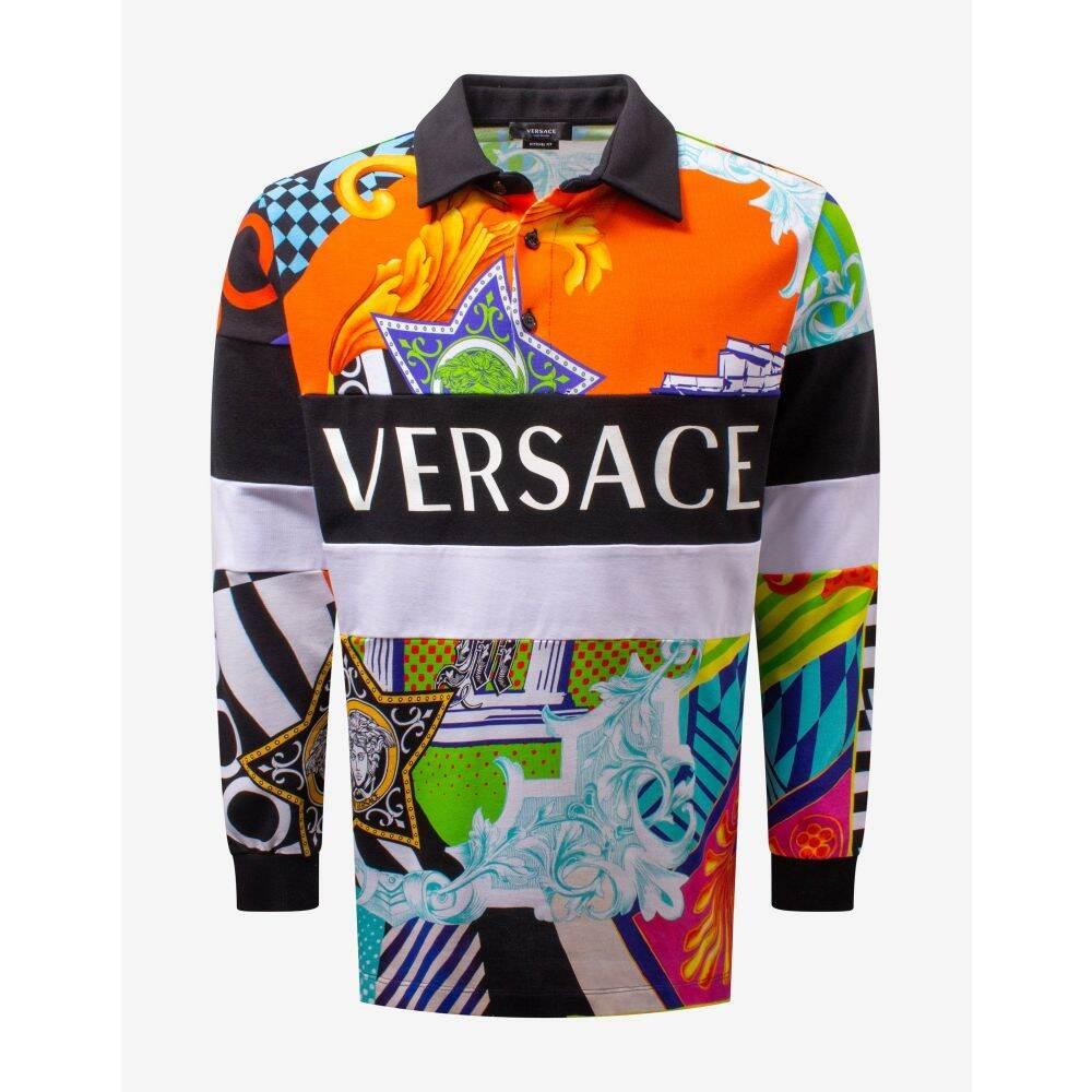 ヴェルサーチ Versace メンズ ポロシャツ トップス【Pop Temple Print Long Sleeve Polo T-Shirt】Blue/Orange/Black