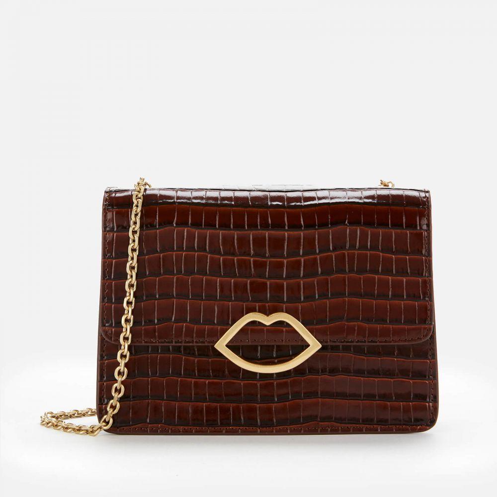 ルル ギネス Lulu Guinness レディース ショルダーバッグ バッグ【Cut Out Lip Croc Polly Shoulder Bag - Chocolate】Brown