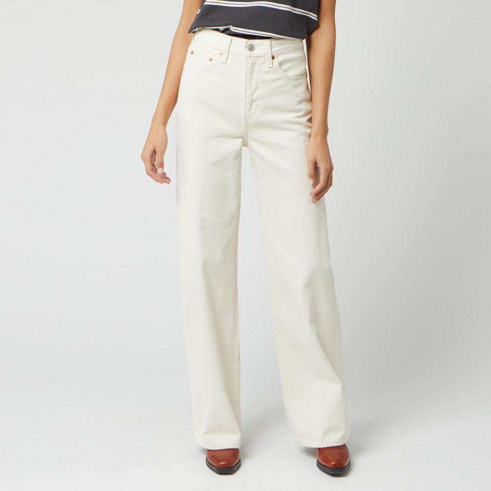 リーバイス Levi's レディース ジーンズ・デニム ワイドパンツ ボトムス・パンツ【Ribcage Wide Leg Jeans - Icy Ecru】White