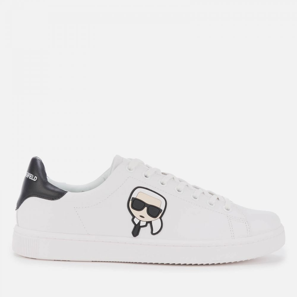 カール ラガーフェルド Karl Lagerfeld メンズ スニーカー シューズ・靴【Kourt Karl Ikonic 3D Lace Leather Cupsole Trainers - White/Black】White/Black