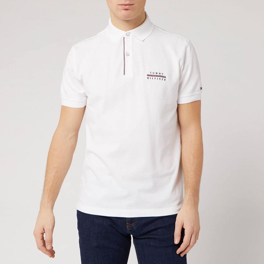 トミー ヒルフィガー Tommy Hilfiger メンズ ポロシャツ トップス【Embroidered Logo Polo Shirt - White】White