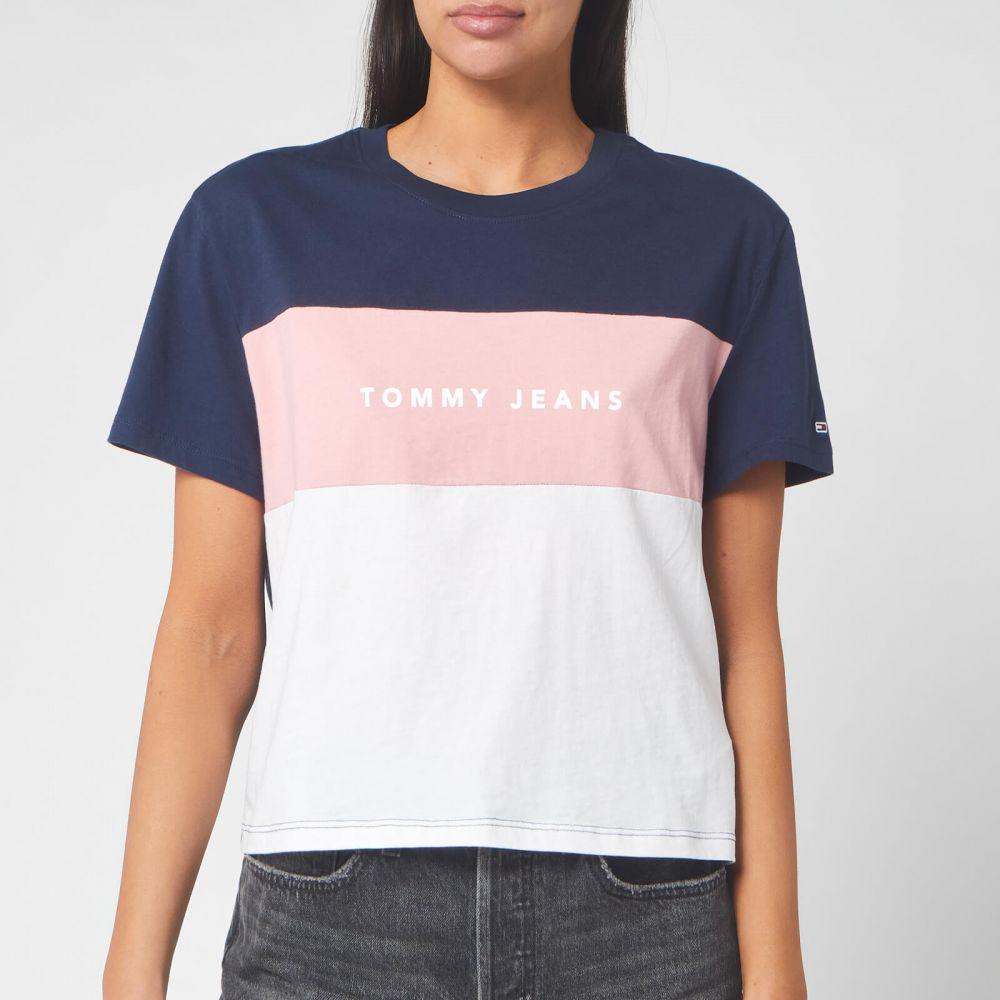 トミー ジーンズ Tommy Jeans レディース Tシャツ トップス【Stripe Logo T-Shirt - Classic White】White