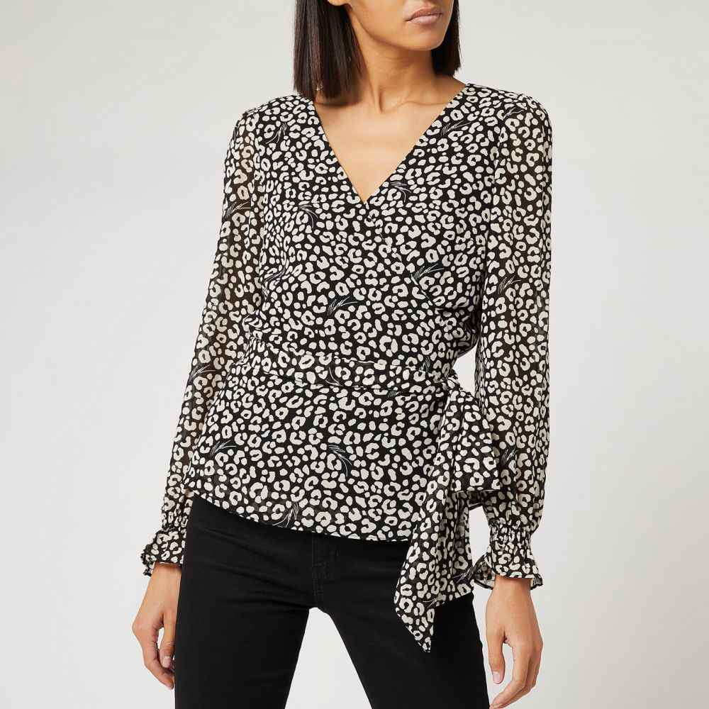 マイケル コース MICHAEL MICHAEL KORS レディース トップス 【Lux Cat Wrap Top - Black/Bone】Black/White