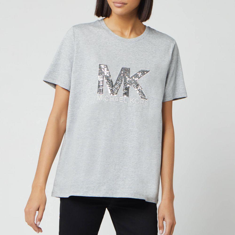 マイケル コース MICHAEL MICHAEL KORS レディース Tシャツ トップス【Logo Sequin T-Shirt - Peak Heather】Grey