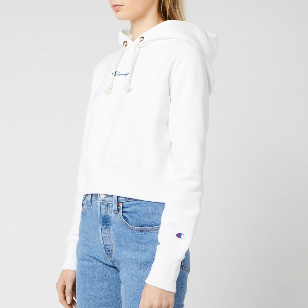 チャンピオン Champion レディース スウェット・トレーナー トップス【Central Script Hooded Sweatshirt - White】White