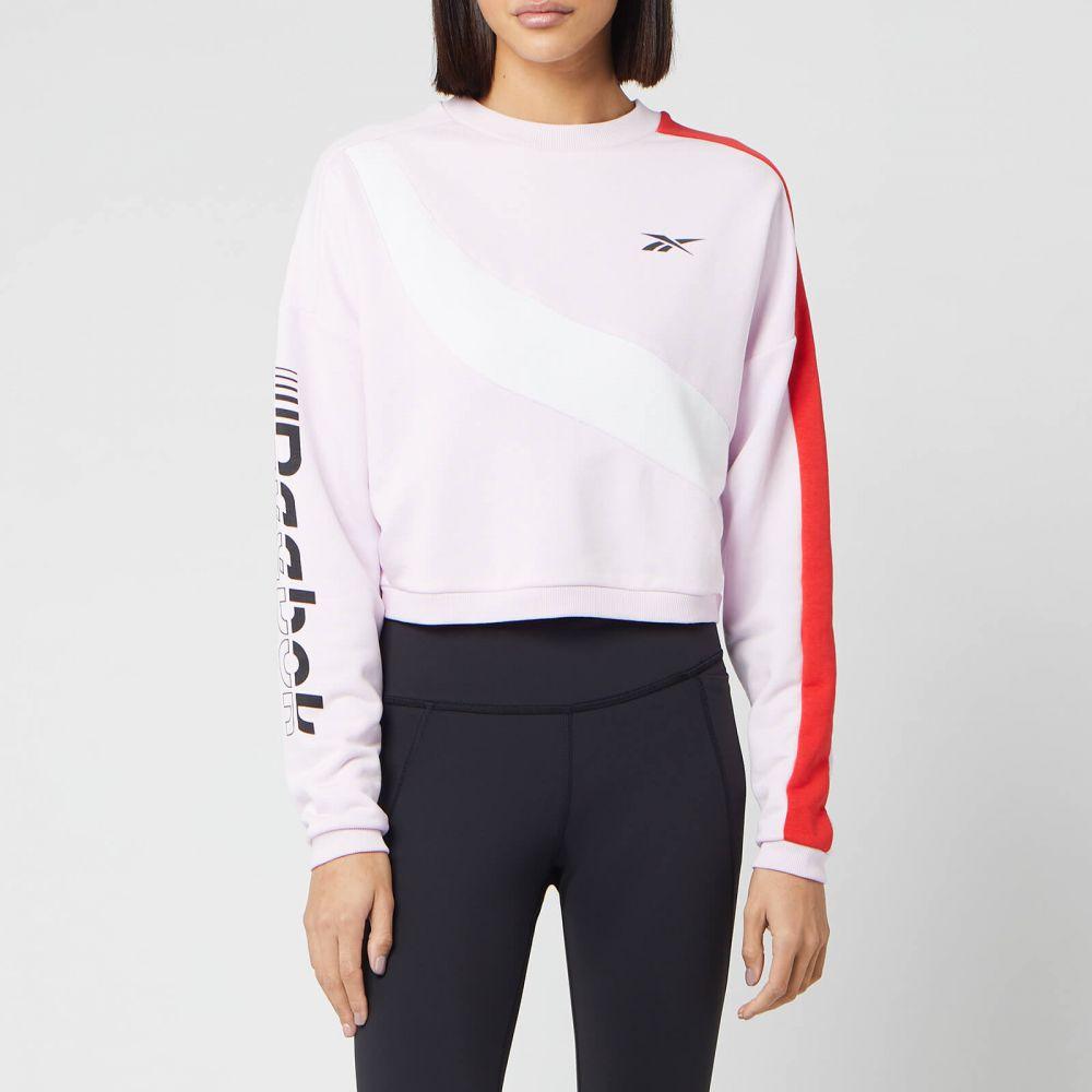 リーボック Reebok レディース スウェット・トレーナー トップス【Myt Colourblocked Cropped Sweatshirt - Pixel Pink】Pink
