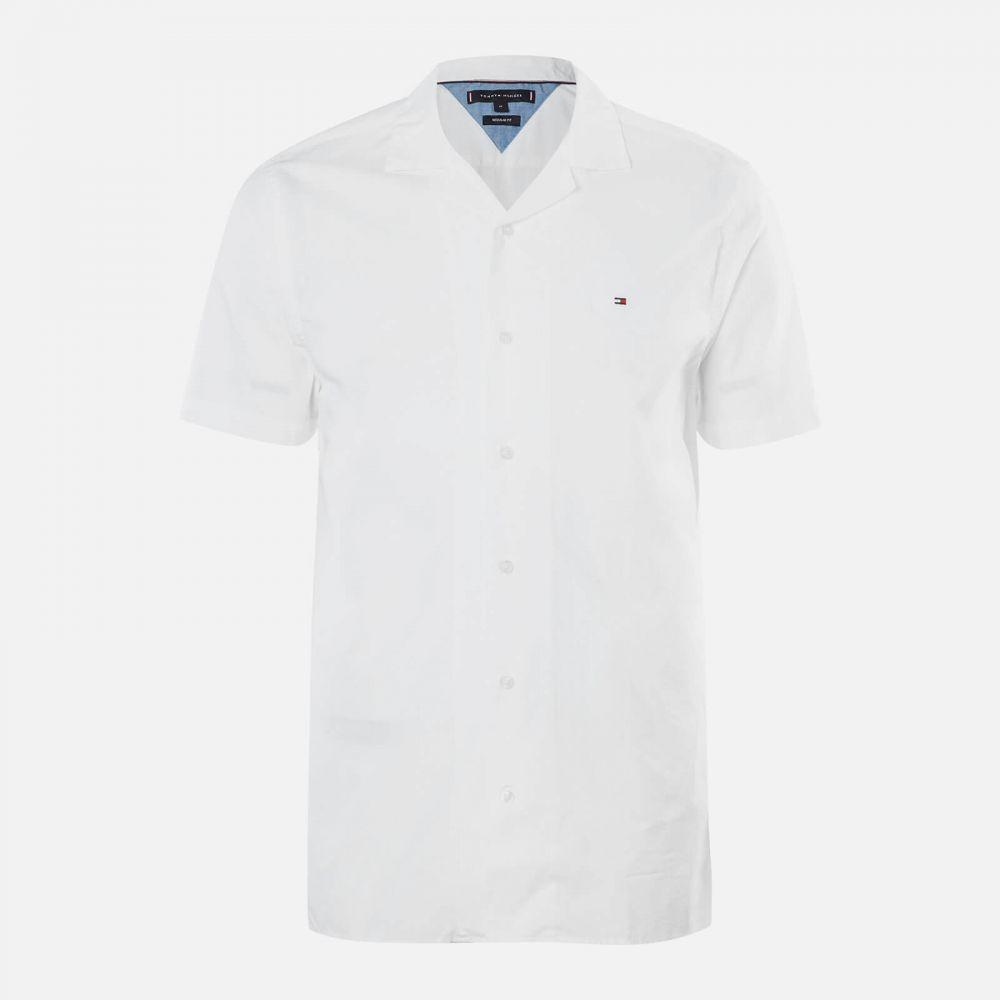 トミー ヒルフィガー Tommy Hilfiger メンズ 半袖シャツ アロハシャツ トップス【Solid Hawaiian Shirt Short Sleeve Shirt】White