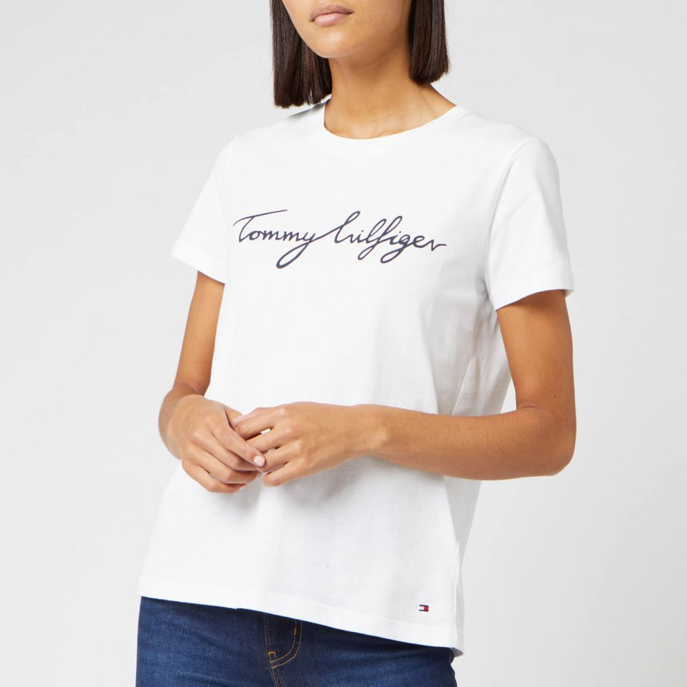 トミー ヒルフィガー Tommy Hilfiger レディース Tシャツ トップス【Heritage Crewneck Graphic T-Shirt】White