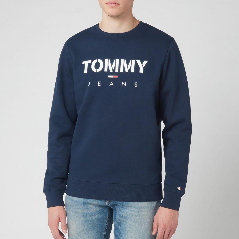 トミー ジーンズ Tommy Jeans メンズ スウェット・トレーナー トップス【Novel Logo Sweatshirt】Navy
