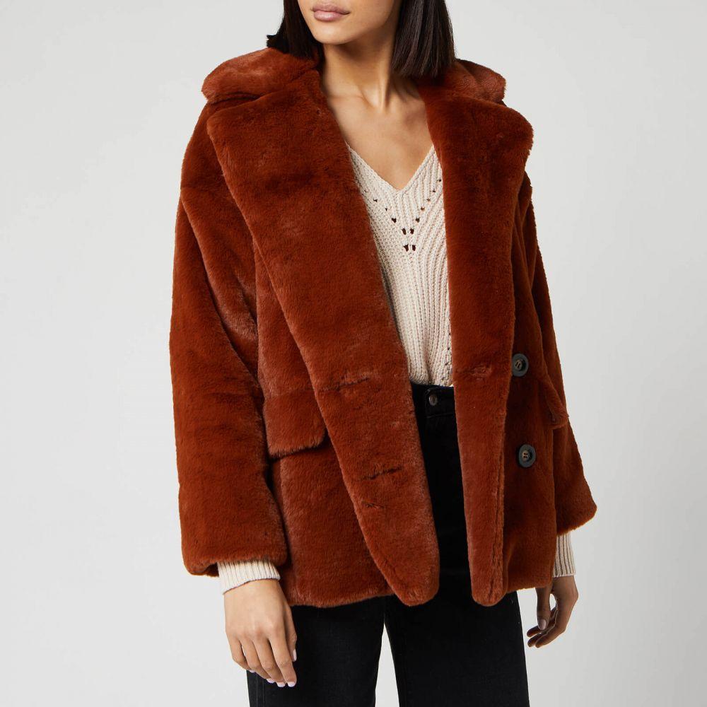 フリーピープル Free People レディース コート ファーコート アウター【Solid Kate Faux Fur Coat】Red