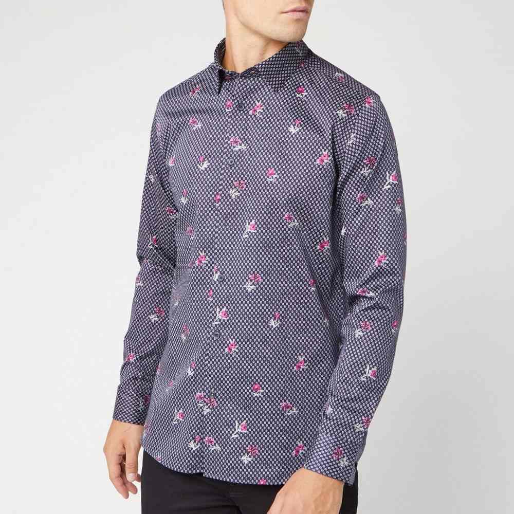 テッドベーカー Ted Baker メンズ シャツ トップス【richrd floral geo print shirt - navy】Navy