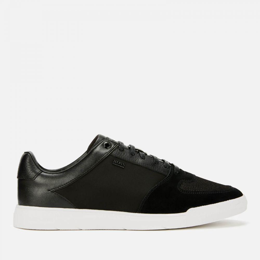 ヒューゴ ボス BOSS メンズ テニス シューズ・靴【cosmo suede/leather tennis trainers - black】Black
