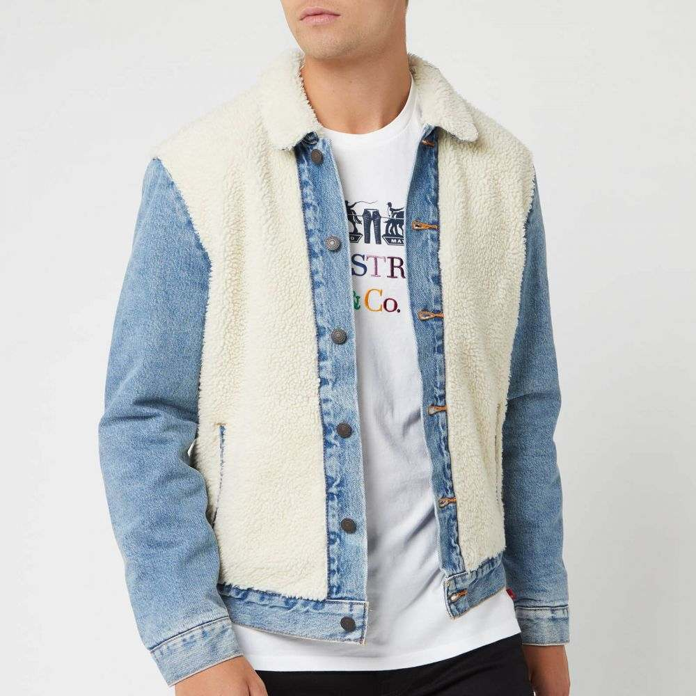 リーバイス Levi's メンズ ジャケット アウター【sherpa panel trucker jacket - so sheepy】Blue/Cream