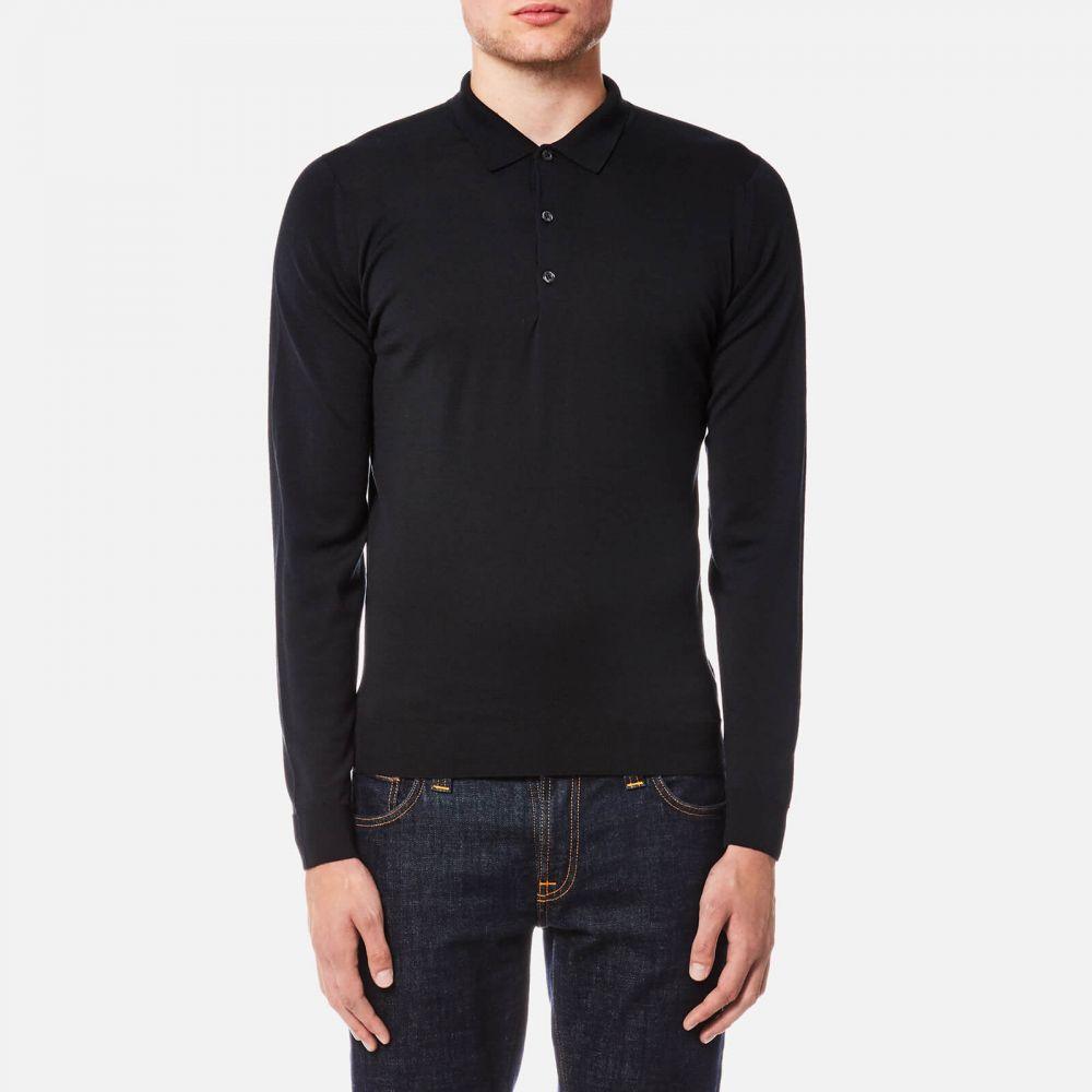ジョンスメドレー John Smedley メンズ ポロシャツ トップス【belper 30 gauge merino long sleeve polo shirt - black】Black