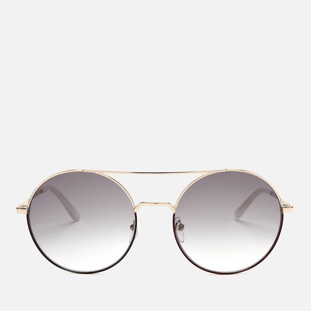 カール ラガーフェルド Karl Lagerfeld レディース メガネ・サングラス ラウンド【round frame sunglasses - brown/gold】Gold