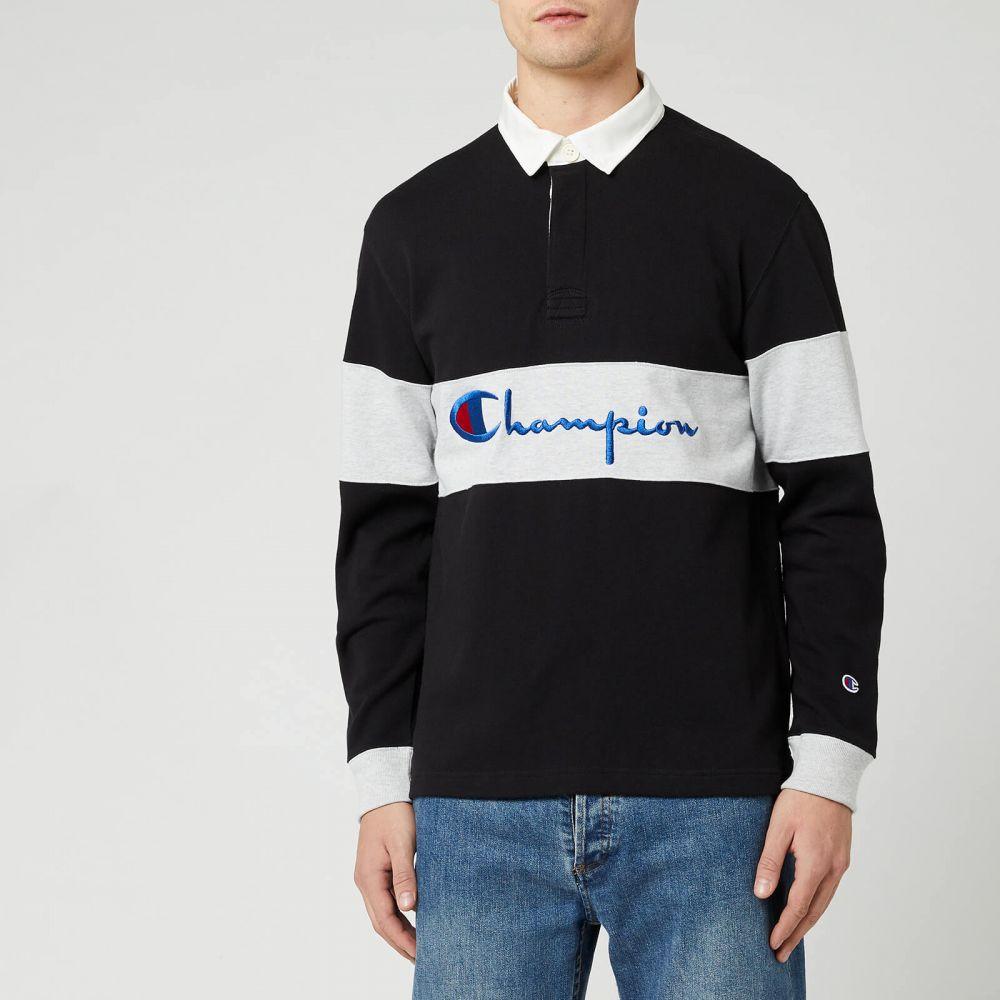 チャンピオン Champion メンズ ポロシャツ トップス【Big Script Long Sleeve Polo Shirt - Black】Black