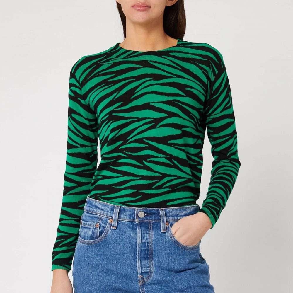 ホイッスルズ Whistles レディース トップス 【Tiger Stripe Printed Crew Neck Top - Green/Multi】Black/Green