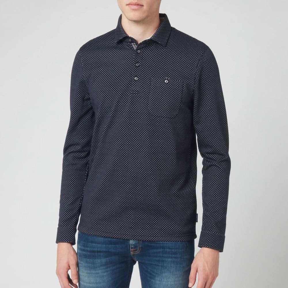 テッドベーカー Ted Baker メンズ ポロシャツ トップス【Out Of Long Sleeve Jacquard Polo Shirt- Navy】Navy