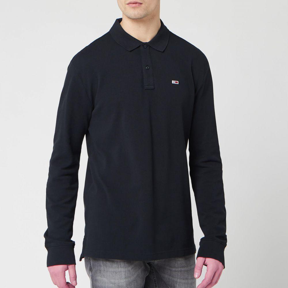 トミー ジーンズ Tommy Jeans メンズ ポロシャツ トップス【Long Sleeved Polo Shirt - Tommy Black】Black