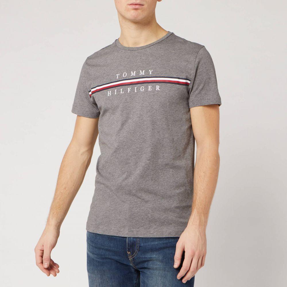 トミー ヒルフィガー Tommy Hilfiger メンズ Tシャツ トップス【Split Logo T-Shirt - Silver Fog Heather】Grey