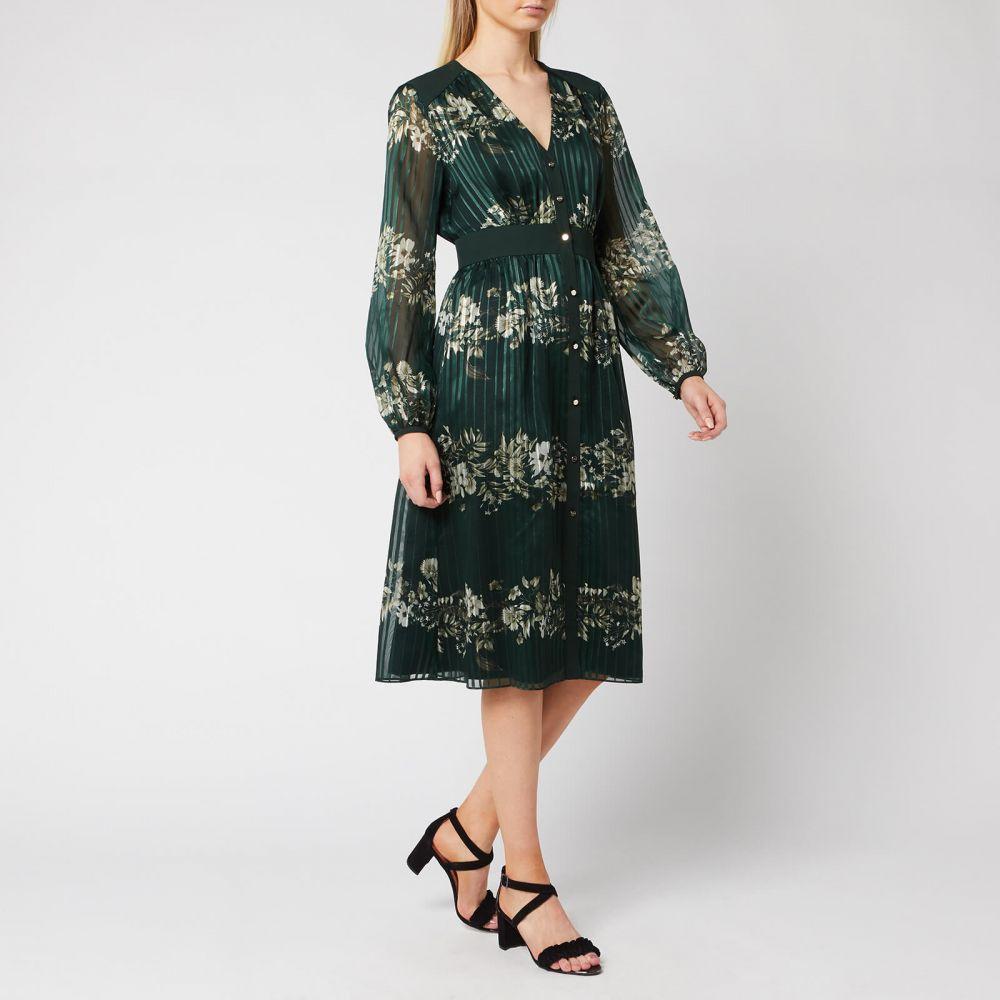 テッドベーカー Ted Baker レディース ワンピース ミドル丈 ワンピース・ドレス【Delyla Meadowsweet Long Sleeve Midi Dress - Dark Green】Green/White